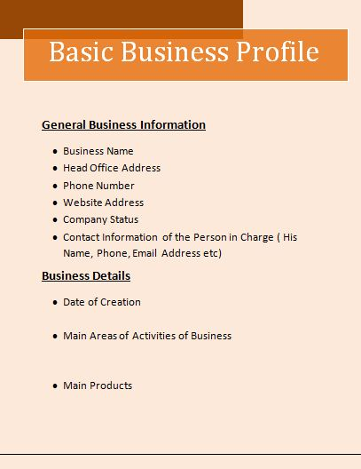 business profile template word – Format of Company Profile